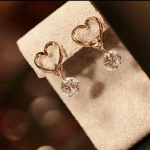 Heart & Cubic Zirconia Dangle earrings